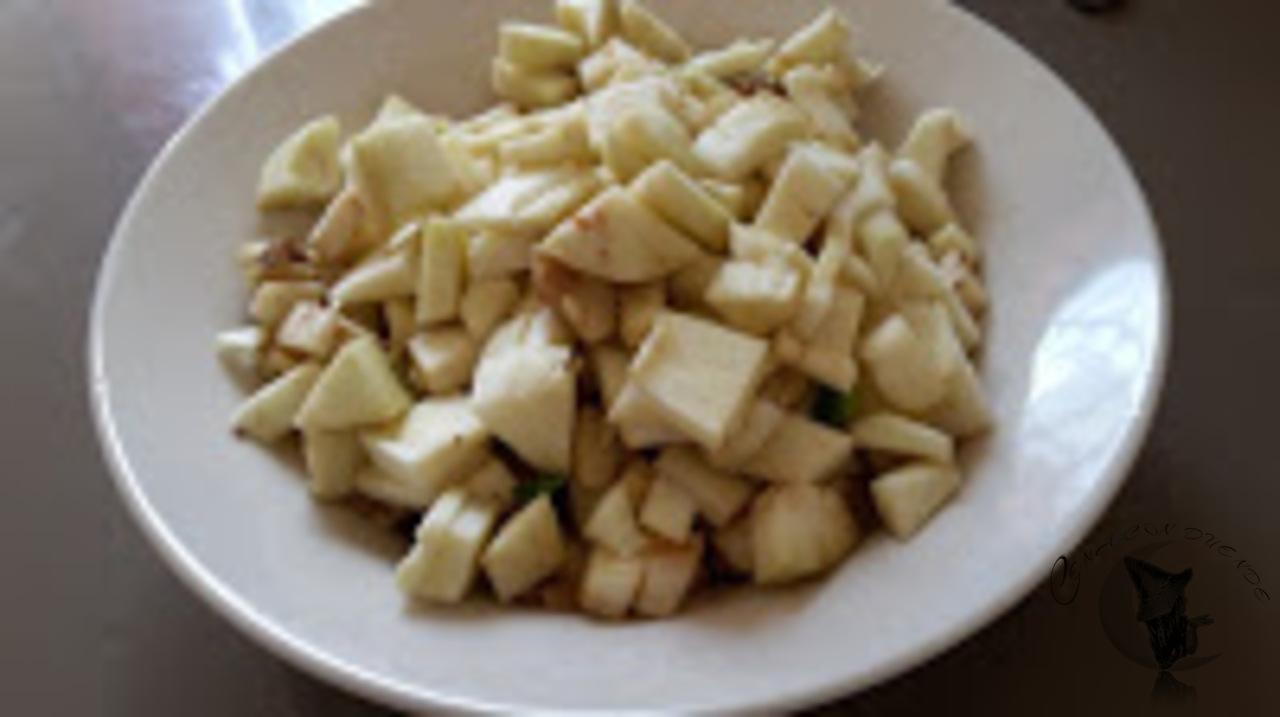 pimientos rellenos de pollo al teriyaki y berenjenas