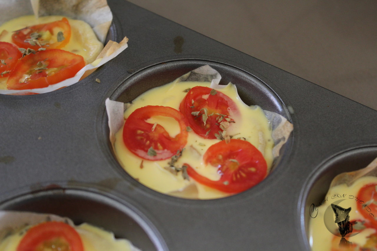 Mini quiche de berenjena y tomate