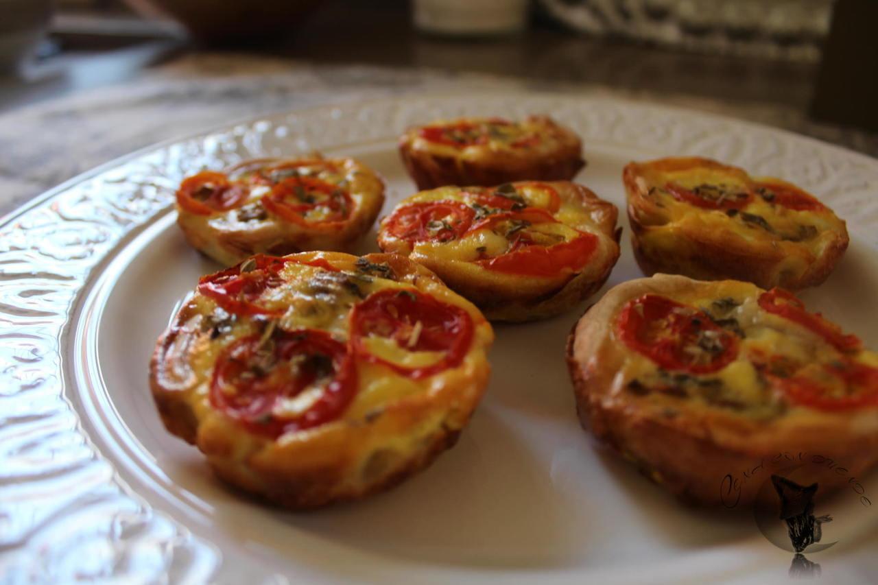 Mini quiche de berenjena y tomate.