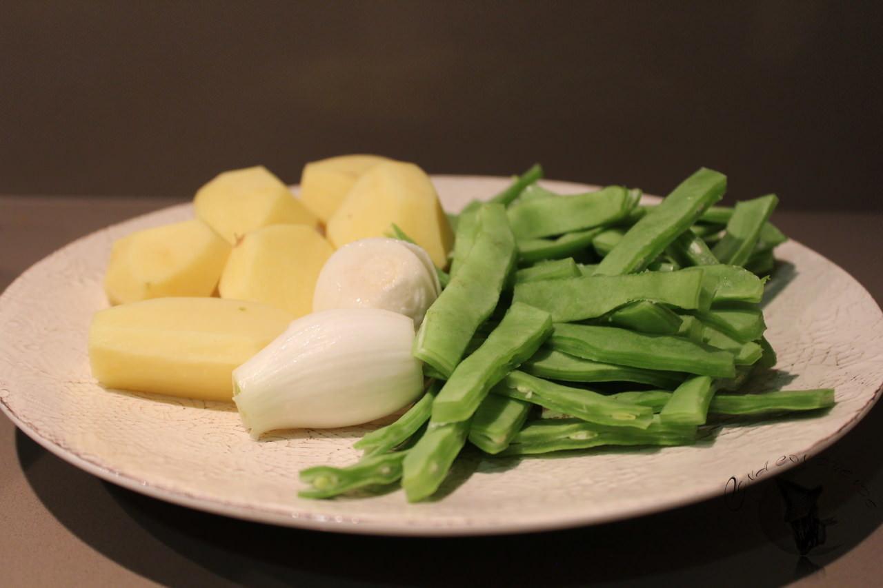 Pastel de patatas y judias verdes