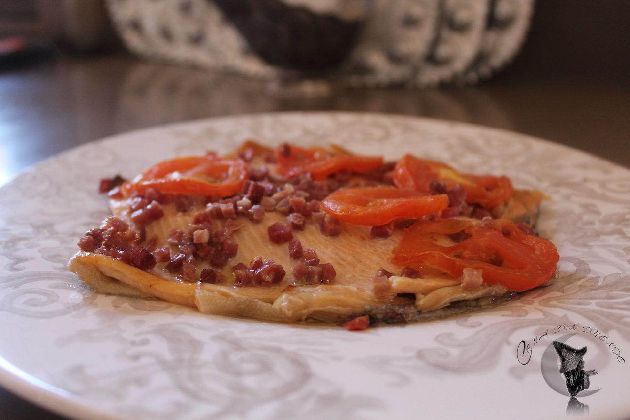 Trucha con jamón al horno.