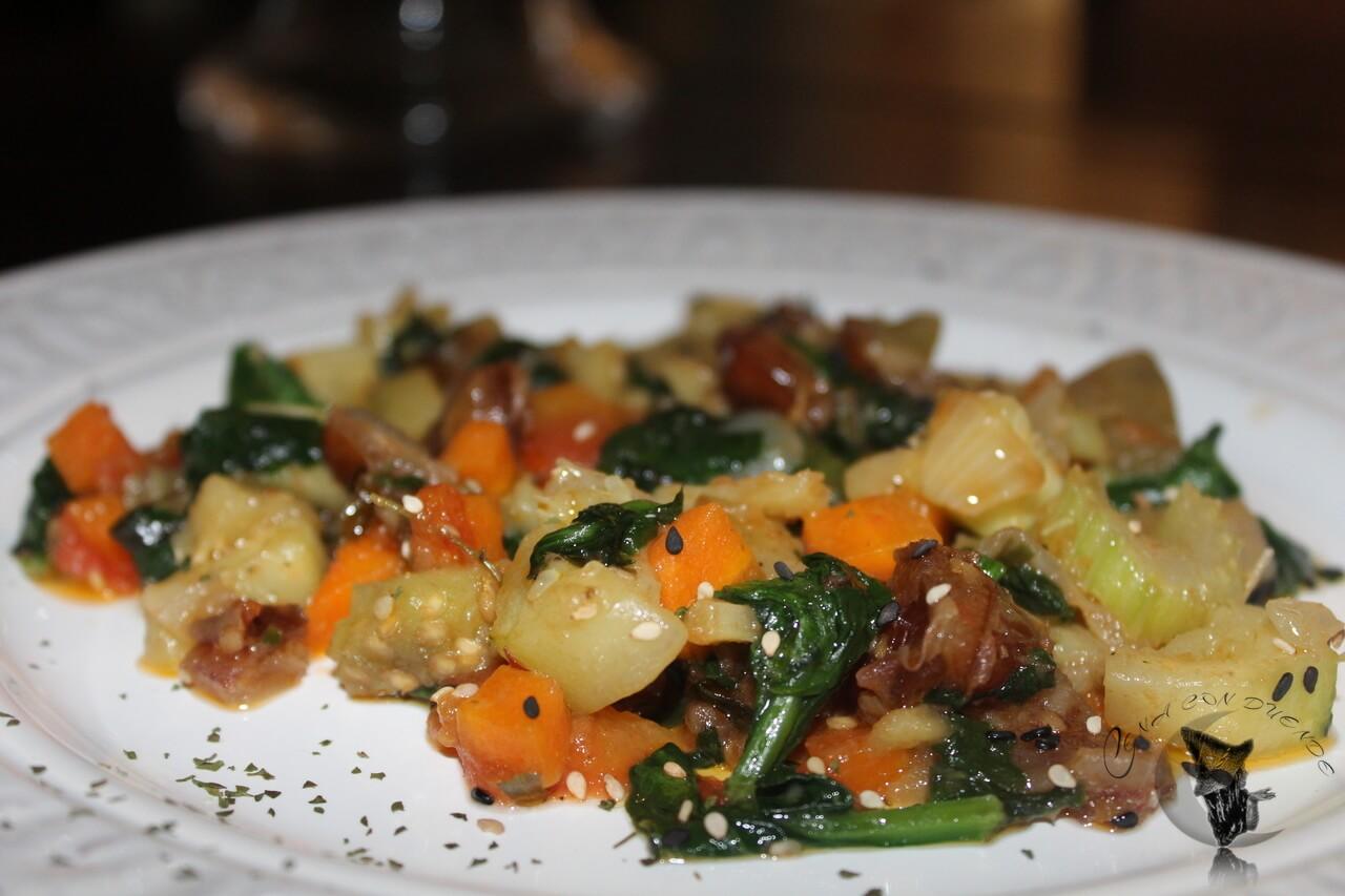 Verduras con jengibre, sesamo y datiles