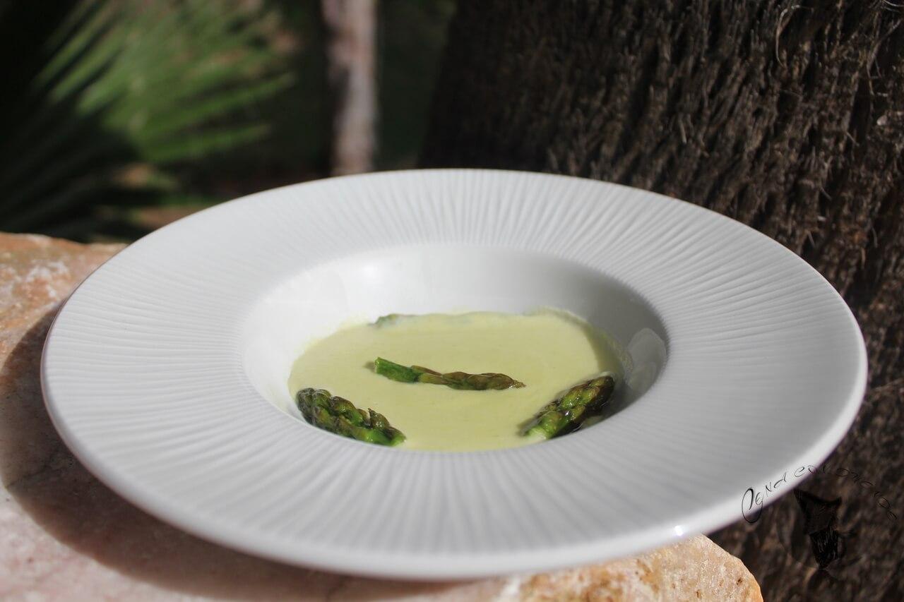 Crema de Espárragos Trigueros, queso de cabra payoya y mozzarella.