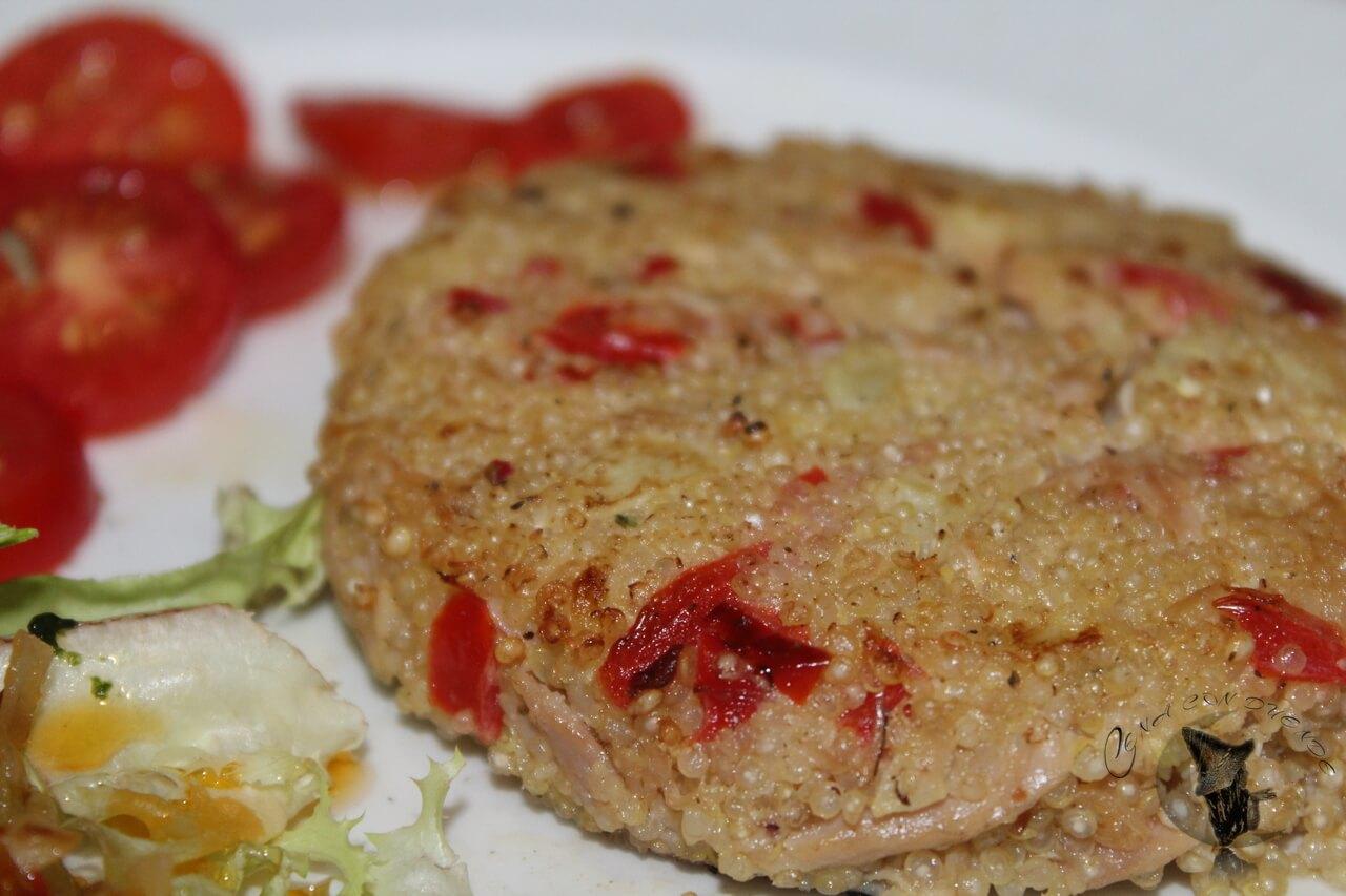Hamburguesa de Quinoa con atún y calabacín.