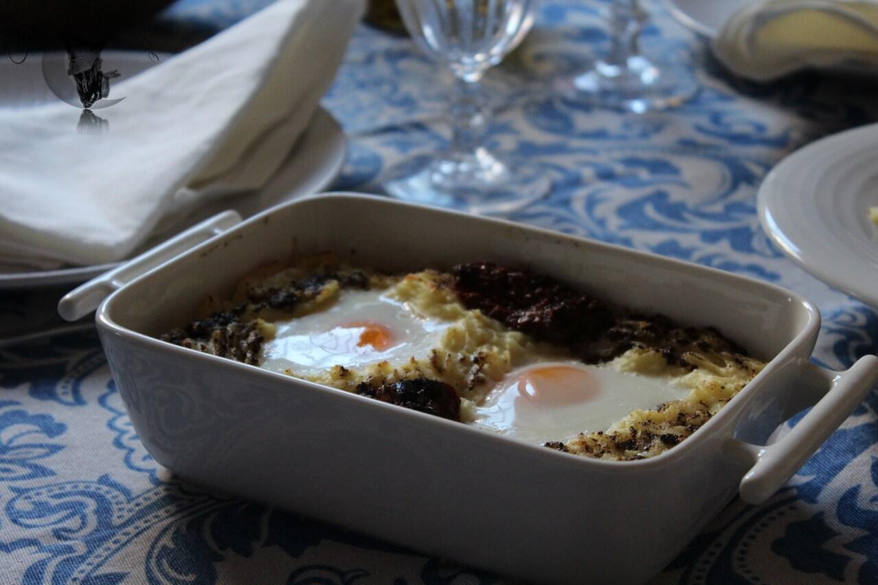Parmentier con huevo y trufa rallada.