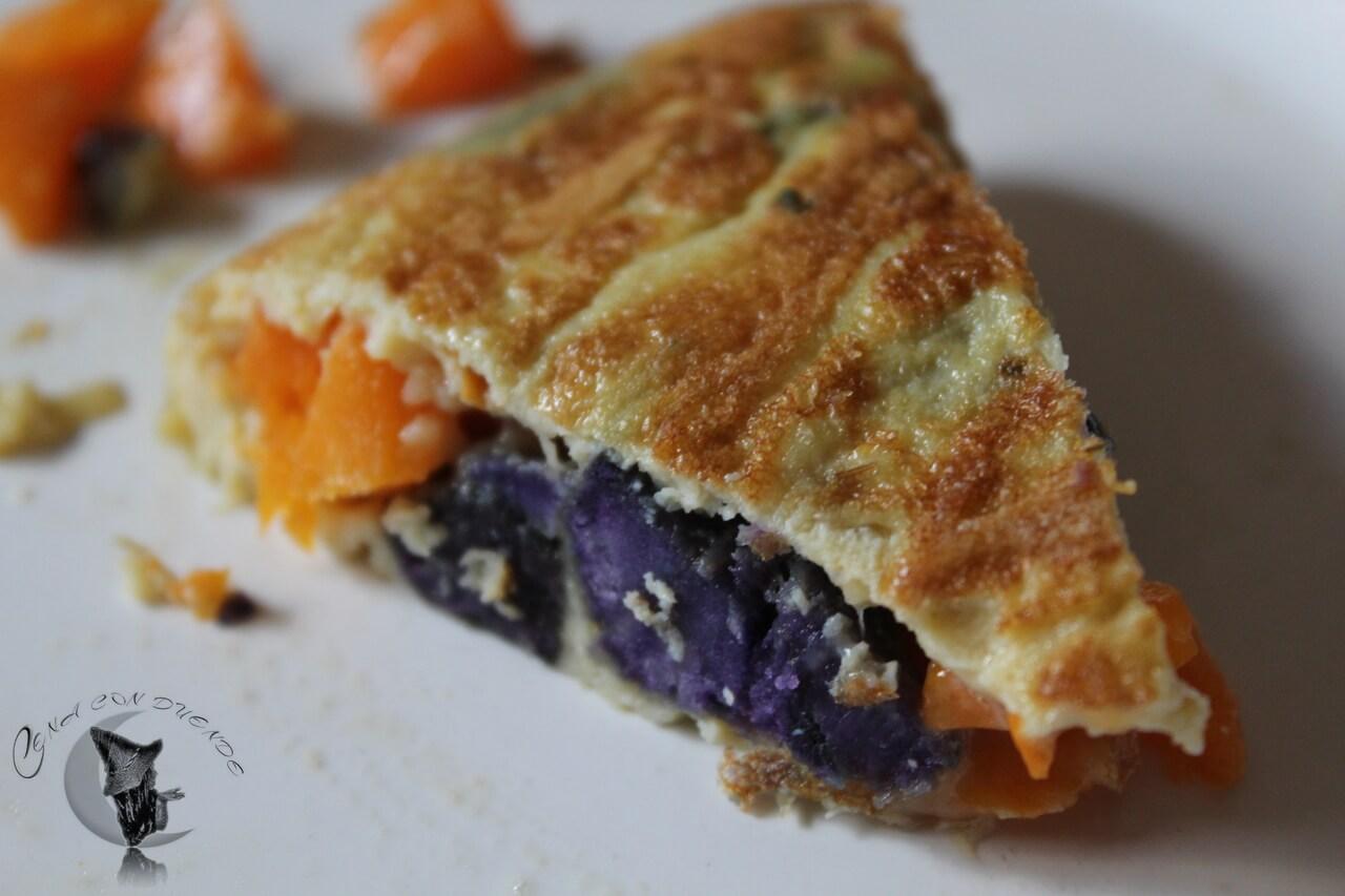 Tortilla de calabaza y patatas violetas.