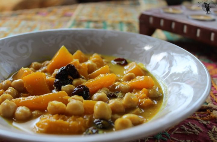 Calabaza con garbanzos al curry
